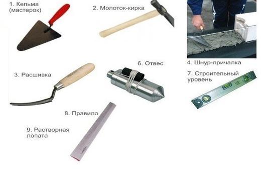 Инструменты для кладки стены