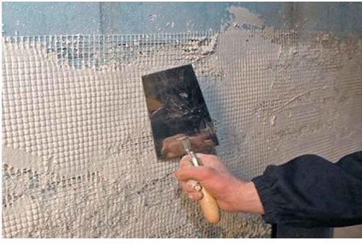 Армирование сеткой стены под штукатурку