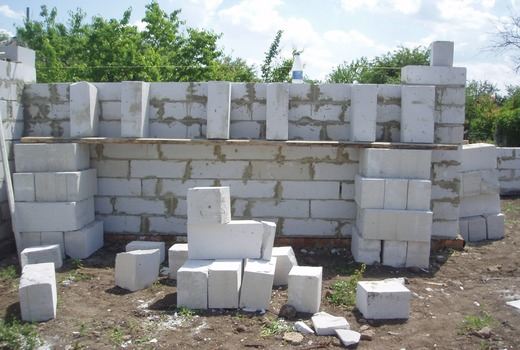 Кладка последующих рядов блоков