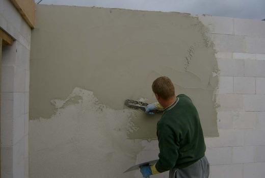 Штукатурка газоблока цементным раствором внутри помещения известняк в бетоне