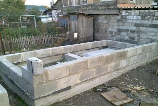 Фундамент из шлакоблоков для бани