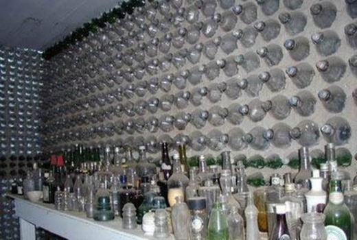 Заливка бутылочного фундамента