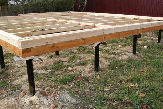 Использования ростверка из деревянного бруса