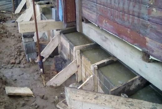 Подливание нового бетона
